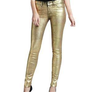 J Brand Super Skinny Jeans 26 Gold Coated